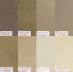 Microcemento color chocolate, marr�n, arena, bronce, hueso, caramelo y arena b.b.